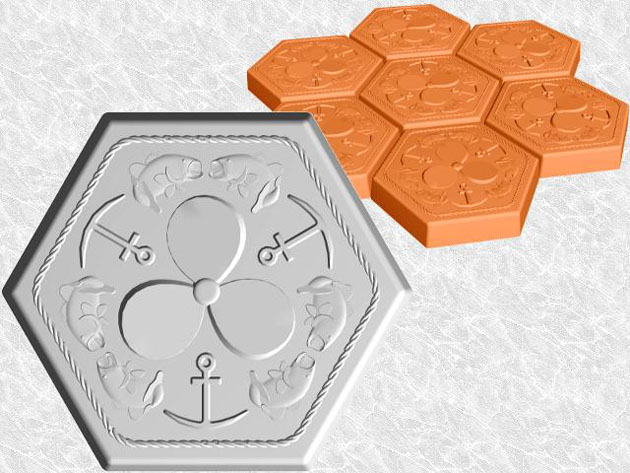 Stepping Stone Molds 009 - Hexagon - Bass Anchors Propellers