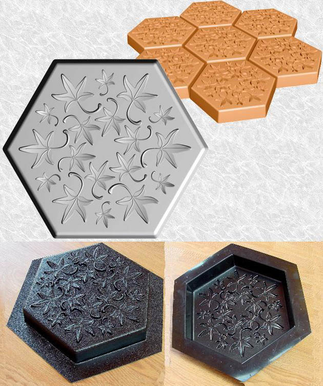 Attirant Stepping Stone Molds 010   Hexagon   Fall Leaves