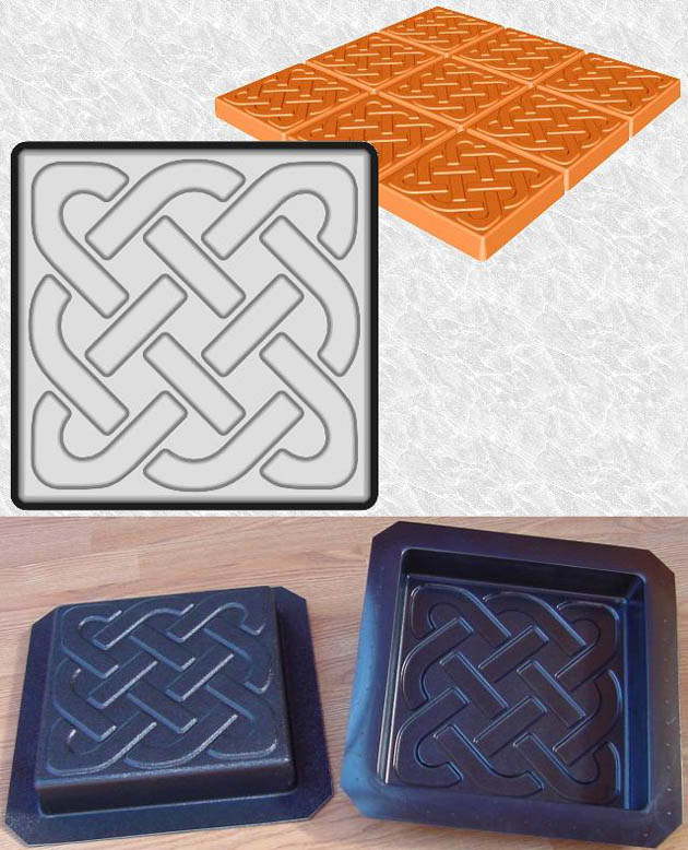Stepping Stone Molds 023 - Square - Celtic Knot