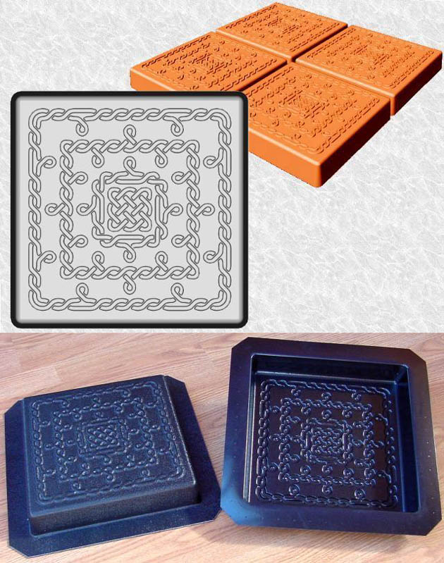 Stepping Stone Molds 024 - Square - Fine Celtic Knots